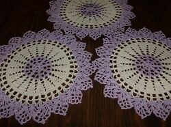 3 Lavender And Cream Round Gift Doilies For spring/fall Décor new/handmade