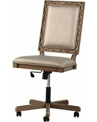 Acme Traditional Orianne Desk Chair With Champagne Pu And Antique Gold 91437