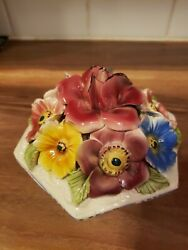 Vintage Capodimonte Floral Dish Bowl Center Piece Ceramic Flower Lid Made Italy
