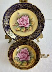 Paragon England Tea Cup And Saucer Floating Pink Cabbage Rose Cobalt Heavy Gold