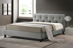 Baxton Studio Annette Gray Linen Bed With Upholstered Full Size Headboard
