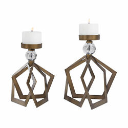 Uttermost Lianna Jim Parsons Steel And Glass Set Of 2 Candle Holder 18973