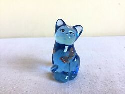 Collectible Fenton Signed Hand Painted Butterfly Kisses Blue Cat Figurine Usa