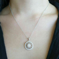0.50 Ct Round Real Diamond Pendant For Womenand039s Wedding Solid 14k White Gold