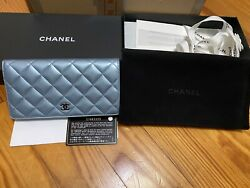New In Box Yen Flap Wallet Blue/gray Patent/calf Skin Leather