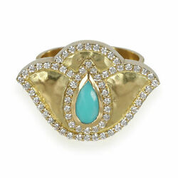 Thamarai Lotus Ring With Turquoise And Diamond In 18k Yellow Gold 0.56 Ctw