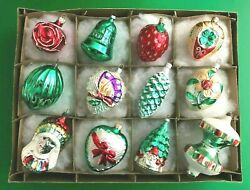 12 Vintage German Mercury Glass Painted And Glittered Figural Christmas Ornaments