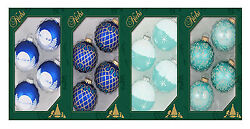 Christmas By Krebs Tv510012a Blue Decorated Glass Ornaments - 4 Pack, Pack O