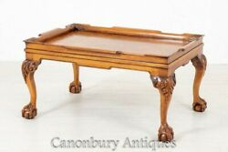Chippendale Coffee Table - Walnut Antique Ball And Claw