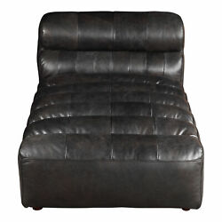 Moe's Home Contemporary Ramsay Leather Chaise With Antique Black Qn-1010-01
