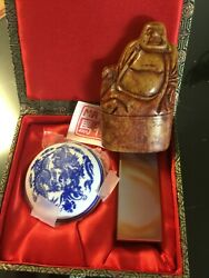 2-vintage Carved Stone Seal Dual Stamp Budda/agate Stone English/chinese Ink Box
