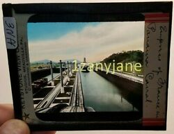 Glass Magic Lantern Slide Hne Empress Of France In Panama Canal History Ship