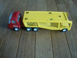 Vintage Tonka Car Carrier Transport Hauler Red Cab Yellow Trailer Nice Used Toy