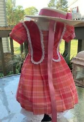 American Girl Doll Marie Grace Meet Outfit Dress Hat Bloomers Retired