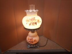 Vintage 1978 Ef And Ef Industries Tm No 555x Flowers Glass Table Lamp Night Light