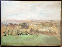 Anne Poor 1918-2002 American Artist Landscape With Cows Oil On Canvas