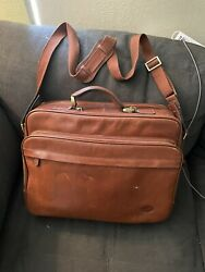 TOSCANINO Italy Brown Leather Messenger Laptop brown Briefcase Bag Mens $58.00