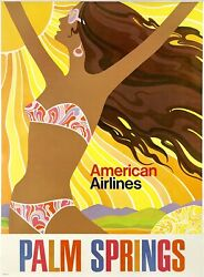 Original Vintage Poster American Airlines Palm Springs Airline Travel Tourism Ol