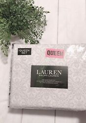 Lauren Queen Sheet Set Gray And White Paisley Extra Deep 4pc Cotton