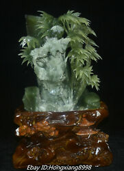16 Natural Green Jade Manual Carved Magpie Bird Bamboo Zi Pen Holder Statue