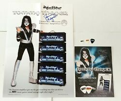 Kiss Band Tommy Thayer Concert Set Signed Autograph Poster + 3 Guitar Pick + Ad