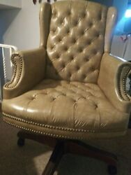 Office Desk Chair Vintage Faux Leather Tufted On Wheels High Point Chair Co.