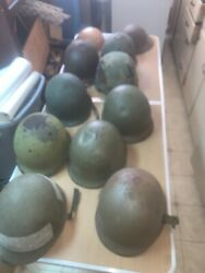 World War Ii Army Helmet Lot Of 11 Dough Boy M1 Different Styles Must See