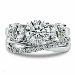2.29 Ct Real Round Natural Diamond Christmas Ring 14k White Gold Size 6 7 8 9