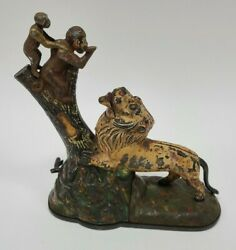 Antique Kyser And Rex Lion And Two Monkeys Cast Iron Mechanical Bank Original Paint