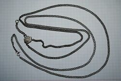 Rare Antique Russian Imperial Sterling Silver 84 Jewelry Chain Necklace 120 Cm