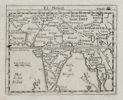 Original Old Antique Engraved Map Of Asia Mogul Empire India From Around 1760