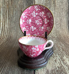 Copeland Spode China Mini Miniature Cup And Saucer Rose Chintz, With Stand