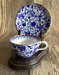Copeland Spode China Mini Miniature Cup And Saucer Blue Floral, With Stand