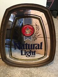 Vintage Anheuser Busch Natural Light Beer Lighted Mirror Beer Sign Collectible M