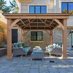 Yardistry 12and039 X 12and039 Cedar Gazebo With Aluminum Roof Contact Us For Shipping