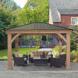 Yardistry 14and039 X 12and039 Cedar Pavilion With Aluminum Roof Contact Us For Shipping