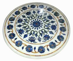 Lapis Lazuli Stone Inlaid Dining Table Top Round Marble Hallway Table 36 Inches