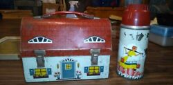 Rare Vintage 1957 Metal Dome Lunch Box And Thermos Dutch Cottage