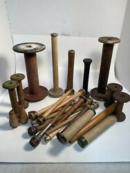 Wooden Quills, Bobbins, Spools, Spindles, Industrial, Lot Of 27, Free Shipping