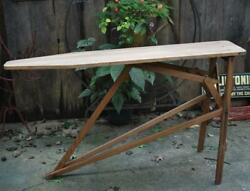 Antique Vtg 1920and039s Wooden Oak Ironing Board Table Cocktail Drink Bar Stand