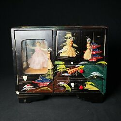 Vintage Black Lacquer Painted Japanese Jewelry Box With Dancing Lady Music Box