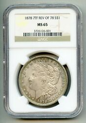 1878 7 Tf Tail Feathers Reverse Of 1878 Morgan Silver Dollar Ngc Ms 65