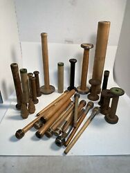 Wooden Quills, Bobbins, Spools, Spindles, Industrial, Lot Of 30, Free Shipping