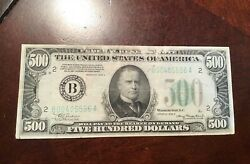 1934 500 Federal Reserve Note Affordable Fine With Paper Pulls