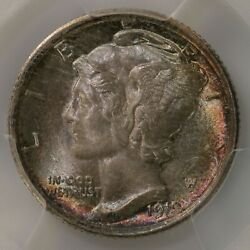 1919 Mercury 10c Pcgs Cac Certfied Ms66fb Attractive Toned Surfaces