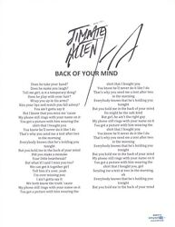 Jimmie Allen Signed Autographed Back Of Your Mind Lyric Sheet Country Acoa Coa