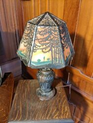 Handel Closed Top Fir Landscape 1 Of 2 Available Lampmissionarts And Crafts