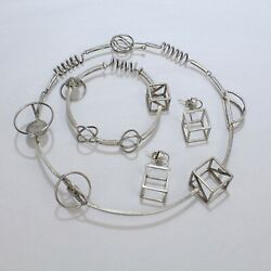 Retro Yumi Ueno Sterling Silver Geometric Necklace Earring And Bracelet Parure Vr
