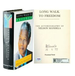 Nelson Mandela Signed Autographed Freedom Autobiography Bookandnbsp Psa Dna And Aftal