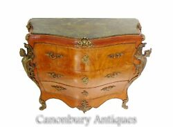 French Empire Bombe Commode - Antique Chest Of Drawers Walnut 1900